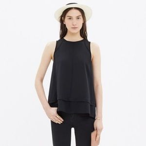 MADEWELL black 100% silk incline tank S